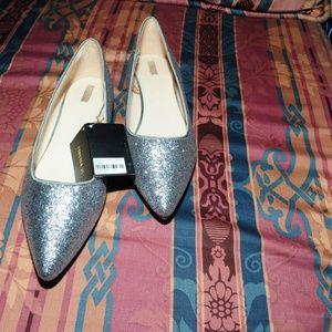 Forever 21 Gunmetal Silver Glitter Flats 10